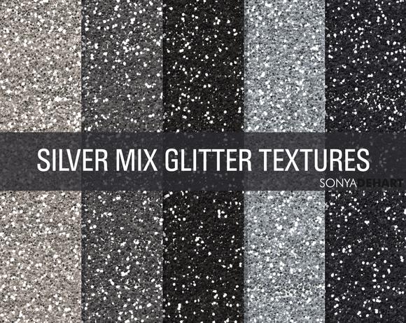 Mixed Silver Glitter Textures