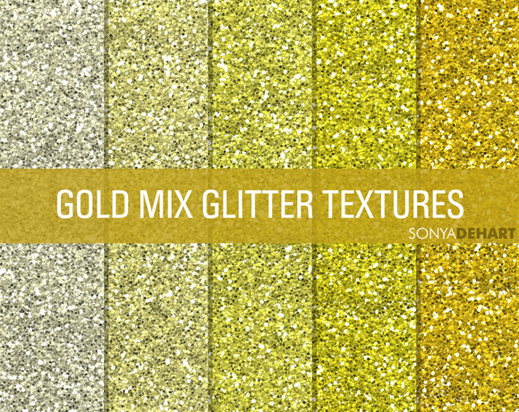 Mixed Gold Glitter Textures