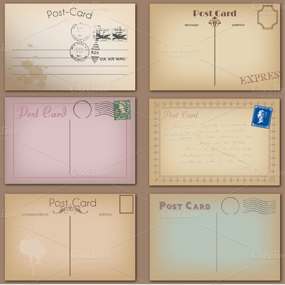 Vintage Postcards Vectors Clipart