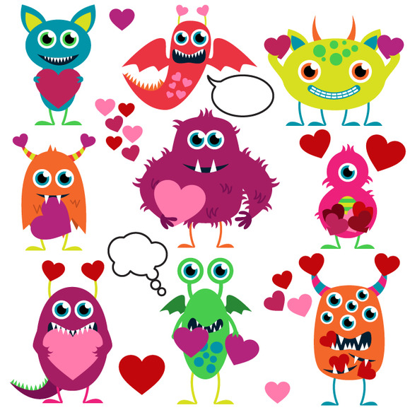 Love Monsters Vectors And Clipart