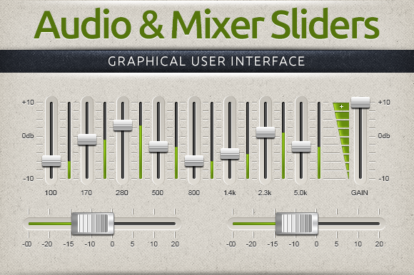 Audio Mixer Interface Sliders
