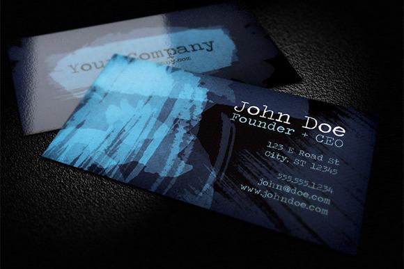 Dark Watercolor Business Card