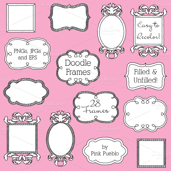 Doodle Frames Clipart And Vectors