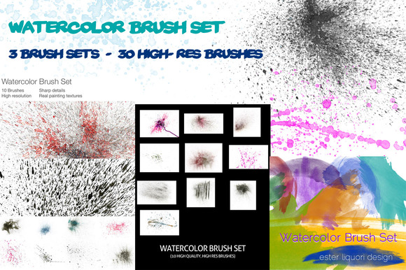 Watercolor Brush Set Mega Bundle