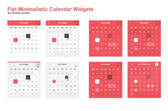 Flat Minimalistic Calendar Widgets