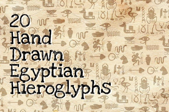 20 Hand Drawn Egyptian Hieroglyphs