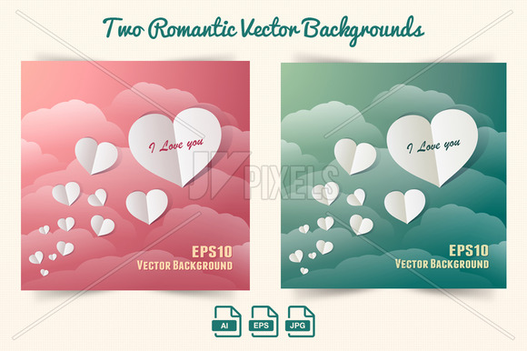 Vector Background Paper Hearts