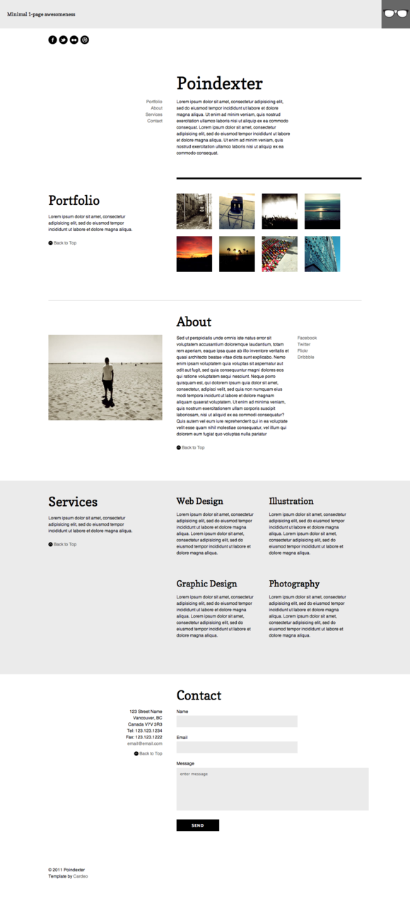 Poindexter Single Page Template