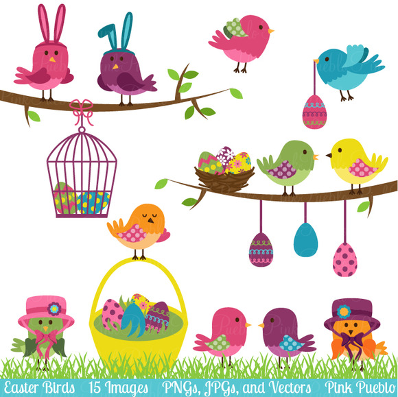 Easter Birds Clipart And Vectors