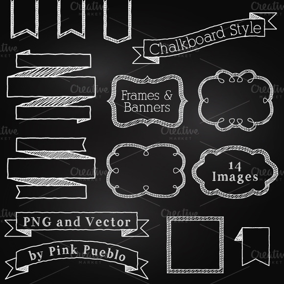 Chalkboard Elements Clipart Vector