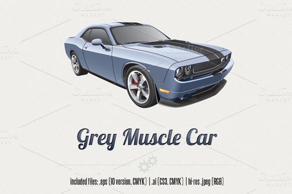 Grey Muscle Car