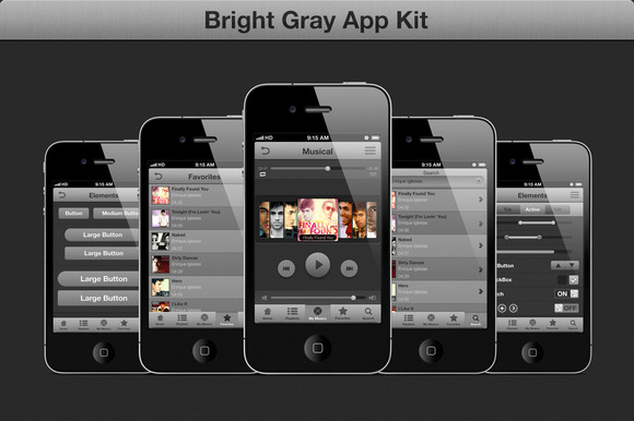 Gray GUI IOS Kit Music App