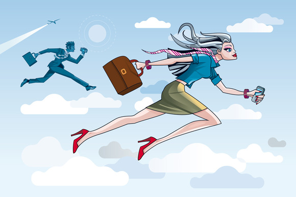 Businesswoman Running Through Clouds