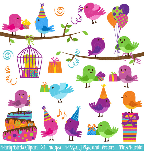 Party Birds Clipart And Vectors