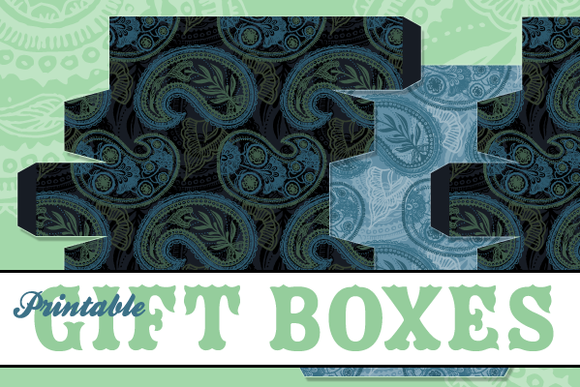 Printable Paisley Gift Box Templates