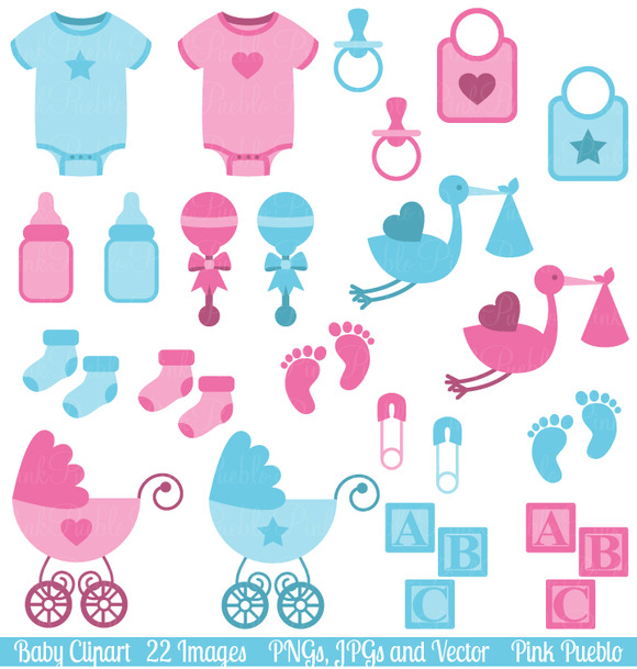 Boy And Girl Baby Clipart Vectors