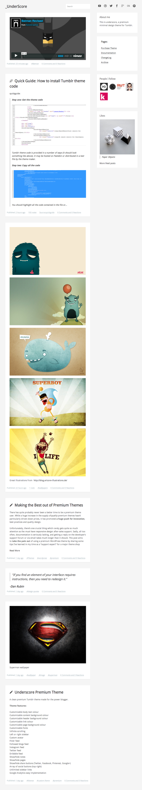 Underscore Tumblr Theme
