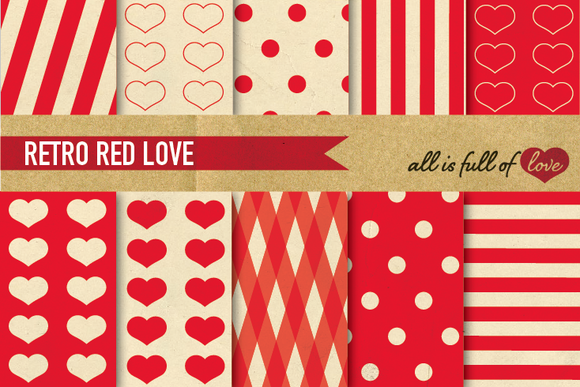Background Pattern RED LOVE Pack
