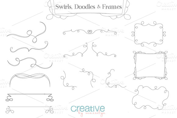 Swirls Doodles And Frames Vector