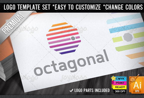 Color Lines Octagonal Logo Template