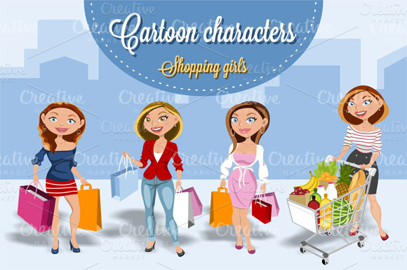 Set Of Shoping Girls Comic Style