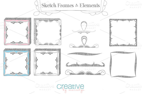 Sketch Frames Elements Vector