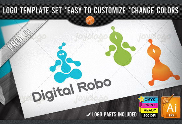 Digital Robot Logo Template Set
