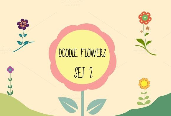 Spring Doodle Flowers Set 2