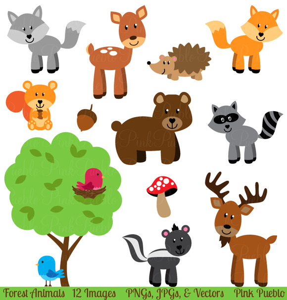 Forest Animals Vectors And Clipart