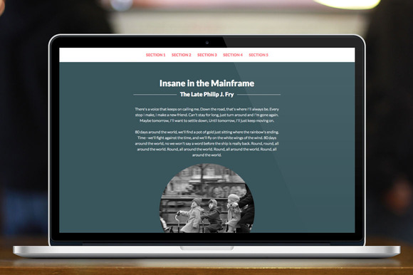 Sections One Page HTML Template