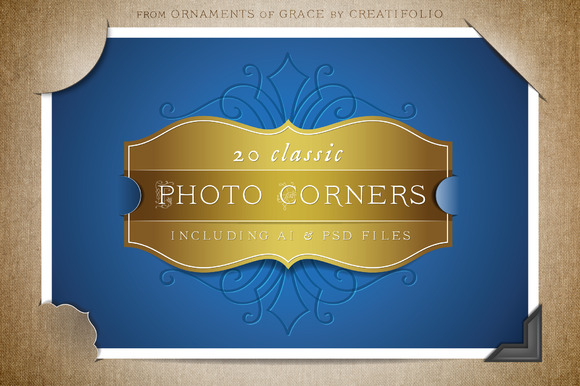 20 Classic Photo Corners AI PSD