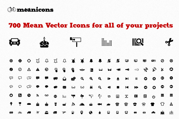 700 Icons-Meanicons Icon Set