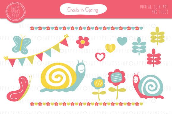 Snails In Spring Clip Art Set