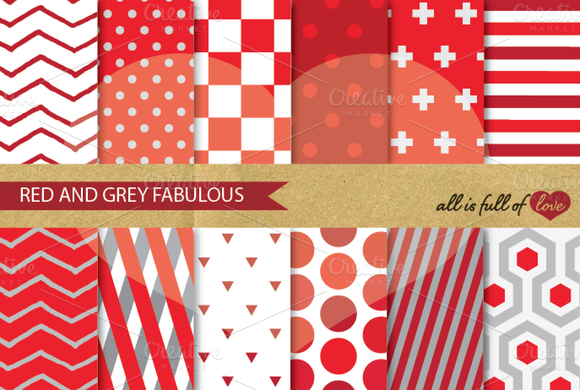 Background Pattern Pack Red Grey