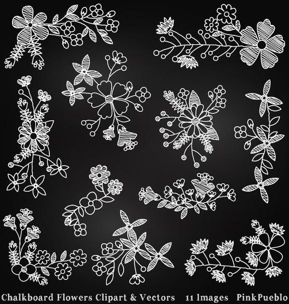 Chalkboard Flowers Clipart Vectors