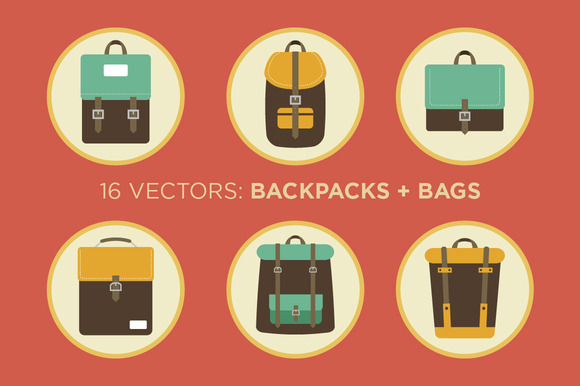 Backpacks And Bags 16 Vectors