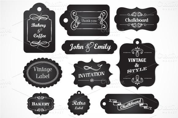 Chalkboard Vintage Labels Elements