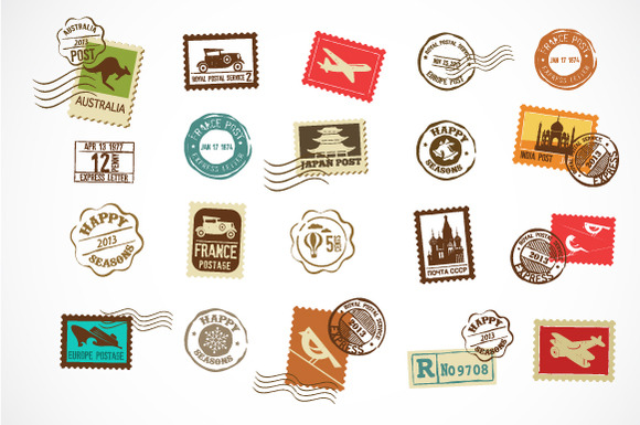 Vintage Vector Stamps Icons