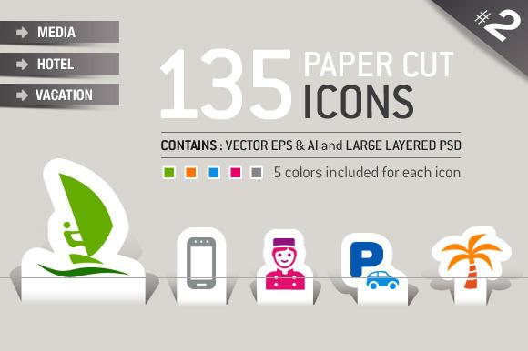 135 Papercut Icons