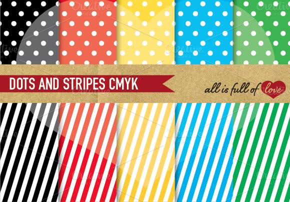 Polka Dots Stripes Digital Paper