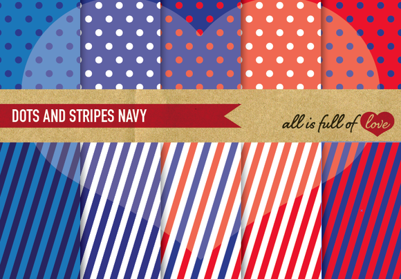 10 Polka Dots Stripes Paper Pack