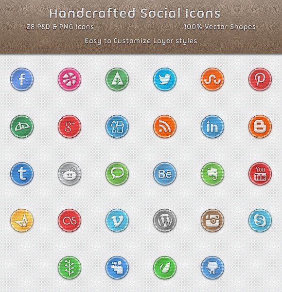Handcrafted Social Media Icons