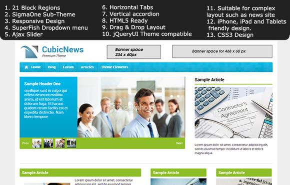 Cubic News Premium Drupal 7 Theme