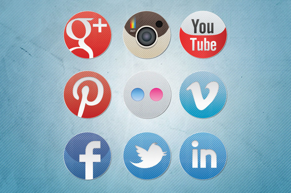 Social Media Icons Diagonal
