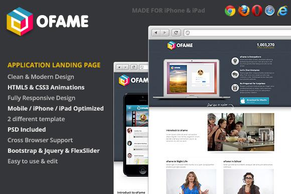 OFame Application Landing Page