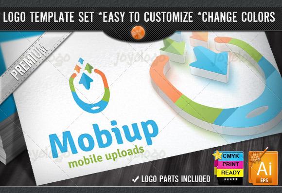 Arrows Download Upload Mobile Logo