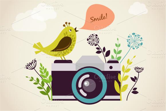 Vintage Camera Bird
