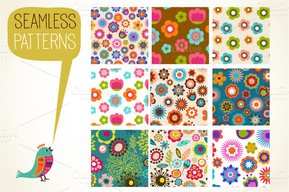 Set Of 9 Seamless Patterns