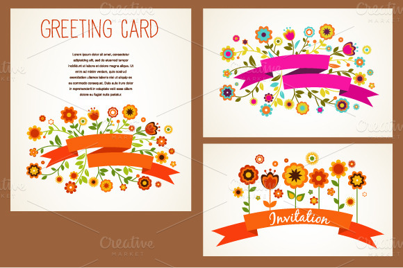 Vector Greeting Cards Set