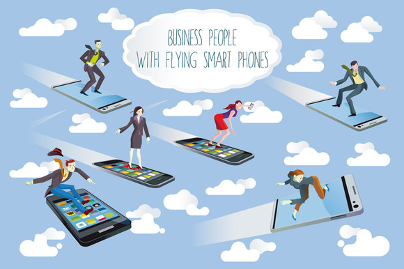 Business People Flying Smartphones